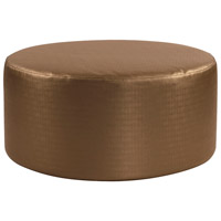 Universal 18 inch Bronze and Faux Leather Ottoman, Round