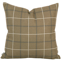 Square 20 inch Moss Brown and Light Slate Pillow, with Down Insert