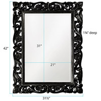 Howard Elliott Collection 2113BL Chateau 42 X 31 inch Glossy Black Wall Mirror, Rectangle alternative photo thumbnail