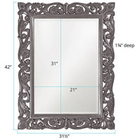 Howard Elliott Collection 2113CH Chateau 42 X 31 inch Charcoal Gray Wall Mirror, Rectangle alternative photo thumbnail