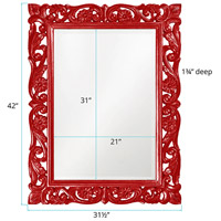 Howard Elliott Collection 2113R Chateau 42 X 31 inch Red Wall Mirror, Rectangle alternative photo thumbnail