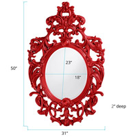 Howard Elliott Collection 2146R Dorsiere 50 X 31 inch Red Wall Mirror, Oval alternative photo thumbnail