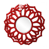 Howard Elliott Collection 2196R Casey 32 X 32 inch Red Wall Mirror, Round, Sunflower Frame photo thumbnail
