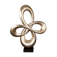 Howard Elliott Collection 22098 Abstract Champagne Silver Leaf and Black Base Infinity Sculpture