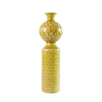 Signature Citrine Yellow Glaze Vase, Scalloped, Medium