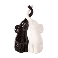 Signature Black and White Sculpture, Elephant