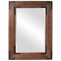 Caldwell 47 X 34 inch Natural Wood Wall Mirror, Rectangle, Black Iron Accents