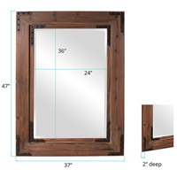Howard Elliott Collection 37068 Caldwell 47 X 34 inch Natural Wood Wall Mirror, Rectangle, Black Iron Accents alternative photo thumbnail