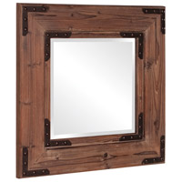 Howard Elliott Collection 37069 Caldwell 47 X 34 inch Natural Wood Wall Mirror, Square, Black Iron Accents photo thumbnail