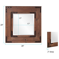 Howard Elliott Collection 37069 Caldwell 47 X 34 inch Natural Wood Wall Mirror, Square, Black Iron Accents alternative photo thumbnail