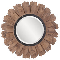 Hawthorne 35 X 35 inch Natural Wood Wall Mirror, Round, Black Iron Accents