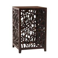 Howard Elliott Collection 37092 Signature 18 inch Espresso Brown Side Table, Floral Cutwork