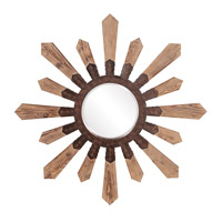 Howard Elliott Collection 37112 Pointe 1 inch Natural Aged Wood Wall Mirror, Round, Rustic Bronze Metal Accents photo thumbnail