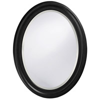 George 33 X 25 inch Matte Black Lacquer Wall Mirror, Oval