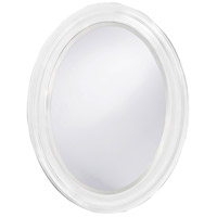 George 33 X 25 inch Matte White Lacquer Wall Mirror, Oval