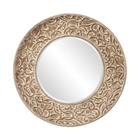 Howard Elliott Collection 43133 Larson Pickled Antique Brown Wall Mirror, Round photo thumbnail