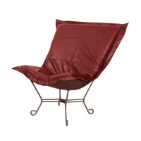 Scroll Puff Deep Red Accent Chair