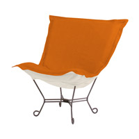 Scroll Puff Orange Accent Chair, Linen Texture