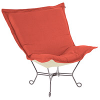 Scroll Puff Poppy Red Accent Chair, with Titanium Frame