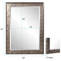 Howard Elliott Collection 51271 Charlize 42 X 30 inch Silver Leaf Wall Mirror, Rectangle, Pewter and Black Highlights alternative photo thumbnail