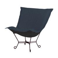 Howard Elliott Collection 555-230 Scroll Puff Dark Blue Accent Chair Home Decor Linen Texture