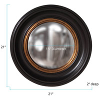 Howard Elliott Collection 56010 Albert 21 X 21 inch Black Lacquer Wall Mirror, Round alternative photo thumbnail