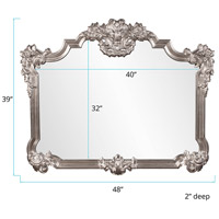 Howard Elliott Collection 56095 Brighton 48 X 39 inch Bright Silver Leaf Wall Mirror, Rectangle alternative photo thumbnail