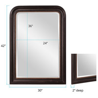 Howard Elliott Collection 56107 Carmichael 42 X 30 inch Rustic Black Wall Mirror, Rectangle, Gold Highlights alternative photo thumbnail