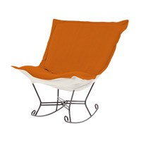 Scroll Puff Orange Rocker Chair, Linen Texture