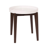 Signature Wenge Brown and Glossy White Accent Table Home Decor