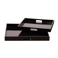 Howard Elliott Collection 83023 Lacquer Black Lacquer Tray, Square photo thumbnail