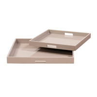 Howard Elliott Collection 83025 Lacquer Taupe Lacquer Tray, Square