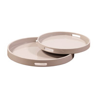 Howard Elliott Collection 83028 Lacquer Taupe Lacquer Tray, Round photo thumbnail