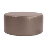 Howard Elliott Collection C132-470 Gator 18 inch Pewter Ottoman Cover, Universal Round photo thumbnail