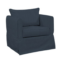 Howard Elliott Collection C138-230 Alexandria Dark Blue Chair Cover, Linen Texture photo thumbnail
