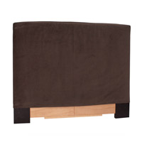 Signature Chocolate Velvet Fabric Queen Slipcovered Headboard