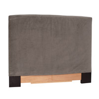 Signature Pewter Gray Velvet Fabric Slipcovered Headboard