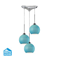 HGTV HOME Cassandra 3 Light Pendant in Polished Chrome and AQ Shade 10240/3AQ