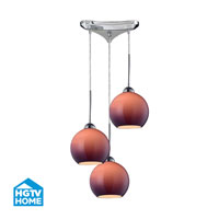 HGTV HOME Cassandra 3 Light Pendant in Polished Chrome and PUR Shade 10240/3PUR