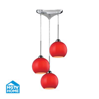 HGTV HOME Cassandra 3 Light Pendant in Polished Chrome and VERM Shade 10240/3VERM