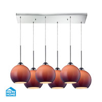HGTV HOME Cassandra 6 Light Pendant in Polished Chrome and PUR Shade 10240/6RC-PUR