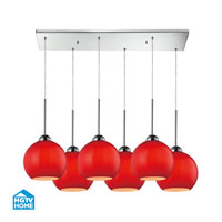 HGTV HOME Cassandra 6 Light Pendant in Polished Chrome and VERM Shade 10240/6RC-VERM