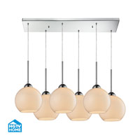 HGTV HOME Cassandra 6 Light Pendant in Polished Chrome and White Shade 10240/6RC-WH