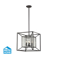 HGTV HOME Cubix 4 Light Chandelier in Oiled Bronze 14122/4
