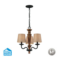 HGTV HOME Early American 3 Light Chandelier in Vintage Rust with Recessed Conversion Kit 14132/3-LA