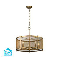 HGTV HOME Rialto 5 Light Pendant in Aged Brass 31483/5
