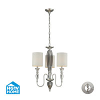 HGTV HOME Martique 3 Light Chandelier in Silver Leaf with Recessed Conversion Kit 46032/3-LA