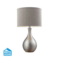 HGTV HOME Ceramic Table Lamp With Grey Shade in Chrome Plated HGTV124