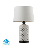 HGTV HOME Ceramic Open Work Table Lamp With Wood Tone Base in Cream Glaze and Dark Brown Paint HGTV128