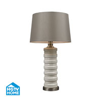 HGTV HOME Cream Crackle Ceramic Table Lamp With Brushed Steel Accents in Ceram Crackle Ceramic With Brushed Steel Base HGTV131